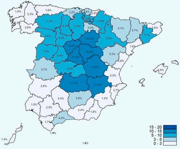 Percentage of Spanish population with COVID-19 antibodies (12th of May)